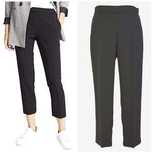 THEORY New Basic Black Crepe Pull On Pant Size 8